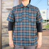 BLUCO ブルコ OL-108PC-018 WORK SHIRTS S/S -P.Check- ワークシャツ  ポリエステルチェック GREEN