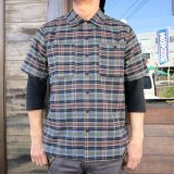 BLUCO ブルコ OL-108PC-018 WORK SHIRTS S/S -P.Check- ワークシャツ  ポリエステルチェック GRAY