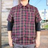 BLUCO ブルコ OL-108PC-018 WORK SHIRTS S/S -P.Check- ワークシャツ  ポリエステルチェック RED