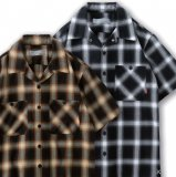 BLUCO ブルコ OL-108CO-019 WORK SHIRTS S/S - OMBRE CHECK -  ワークシャツ オンブレチェック 3color BLACK/ BLUE/ BROWN