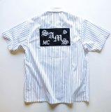 SAMS MOTORCYCLE サムズ 『 SAMSMC MECHANIC 』SHIRTS S/S ワークシャツ WHITE×BLACK 半袖