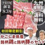 【初回限定 送料無料】 九州産 鹿児島県産 [豚肉 はいからポーク 肩ロースと豚バラ] + [銘柄鶏 地鶏 鶏肉 赤鶏さつま] 豚鶏3種セット