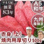 九州産黒毛和牛(鹿児島/佐賀/長崎)A5/A4ランク 焼き肉用赤身厚切り 500g