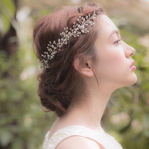 小枝モチーフパール×ビジューヘッドドレス(ホワイト)francbloom(フランブルーム)
