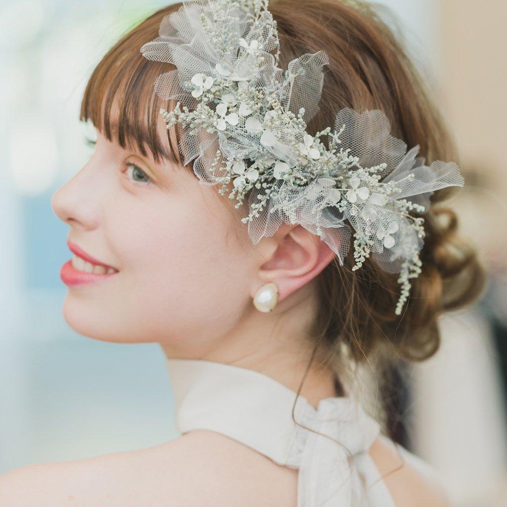Bridal veil×tulle(ブライダルベール×チュール)ヘッドドレス(グリーン)Mimi Cannelle(ミミ キャネル)