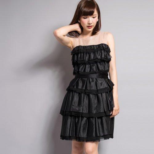 【VANILLA CoUTURE】ソフトオーガンジーワンピース(ブラック)DOUBLE STANDARD CLOTHING(ダブスタ)
