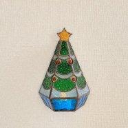 ステンドグラス壁飾り LEDキャンドルランプ クリスマスツリー