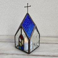 教会のLEDキャンドルランプ  ブルー