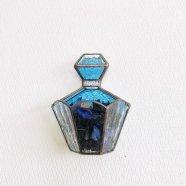 ステンドグラス壁掛け飾り 香水瓶 ブルー