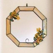 【送料無料】 ミモザの八角形鏡