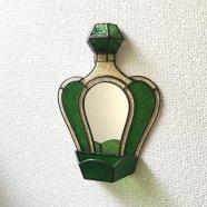 ステンドグラス鏡 アンティーク香水瓶 グリーン