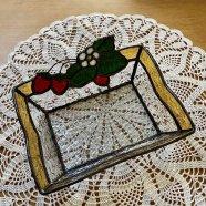 ステンドグラス 苺のトレー アンバー