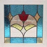 木枠付き ステンドグラスパネル チューリップ