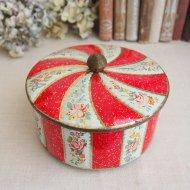 イギリス ローズ&フラワー  薔薇といろいろなお花の丸いティン缶 ボックス