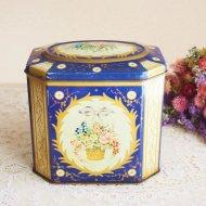 イギリス GRAY DUNN 花かごとリボン ダークブルーのティン缶