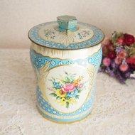 イギリス GEORGE W JORNER ブルー ブーケ 花束のティン缶