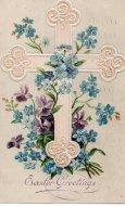 アンティーク ポストカード イースター クロス/十字架 すみれと勿忘草 Easter Greetings