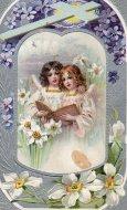 【カナダ発送/送料無料】アンティーク ポストカード イースター クロス/十字架 すみれ エンジェル Easter Greeting