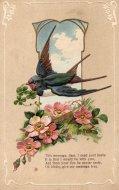 アンティーク ポストカード 四葉のクローバーをくわえたツバメ ピンクのお花