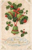 アンティーク ポストカード クリスマス ヒイラギのペル Best Christmas Wishes