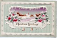 アンティーク ポストカード クリスマス ヒイラギと雪景色 Christmas Greetings