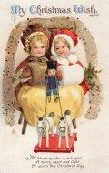 アンティーク ポストカード クリスマス クラップサドル My Christmas Wish