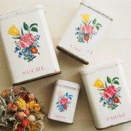 フランス レッドローズ&イエローチューリップ 可愛いお花模様のティン製キャニスター 4点セット