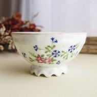 ベルギー ピンクの薔薇と青いお花 プチカフェオレボウル / アンティーク・ヴィンテージ雑貨