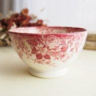 ベルギー ワインレッドのお花模様 カフェオレボウル