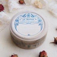 ブルーのお花模様の紙箱 ペーパーボックス Mサイズ-B / アンティーク・ヴィンテージ雑貨