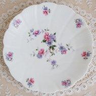 フランス リモージュ LEC  パープル&ピンク お花のデザートプレート