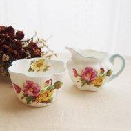 イギリス Shelley Begonia シェリー ベゴニア シュガーボウル&クリームピッチャー / アンティーク・ヴィンテージ雑貨