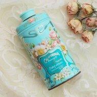 AVON CALIFORNIA PERFUME エイボン エレガントなお花模様のパウダー缶  ブルー ティン / アンティーク・ヴィンテージ雑貨