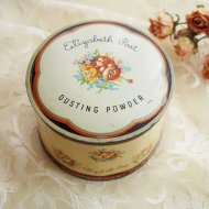 Elizabeth Post New York  お花模様のパウダーボックス ティン缶 / アンティーク・ヴィンテージ雑貨