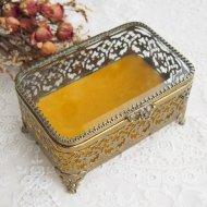 ジュエリーボックス・ケース ガラスの蓋の宝石箱 お花模様 レクタングル