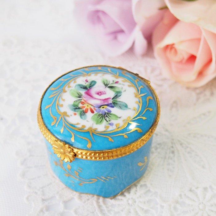 【カナダ発送】フランス リモージュ お花模様 ブルーのミニケース / アンティーク・ヴィンテージ雑貨
