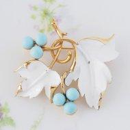 【カナダ発送】Sarah Coventry サラ・コベントリー Placid Beauty  ホワイトリーフとブルーの木の実 ブローチ / ヴィンテージジュエリー アクセサリー