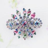 【日本発送】Unsigned Beauty アイリスガラスが輝くエレガントなブローチ / ヴィンテージジュエリー アクセサリー