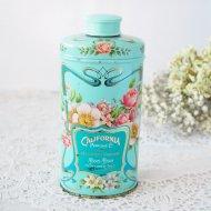 【カナダ発送】AVON CALIFORNIA PERFUME エイボン エレガントなお花模様のパウダー缶  ブルー ティン / アンティーク・ヴィンテージ雑貨