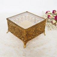 【カナダ発送】ジュエリーボックス・ケース ガラスの蓋の宝石箱 小花模様 スクウェア / アンティーク・ヴィンテージ雑貨