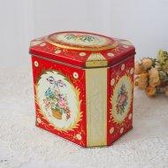 【カナダ発送】イギリス 花かごとリボン レッド ティン缶  / アンティーク・ヴィンテージ雑貨