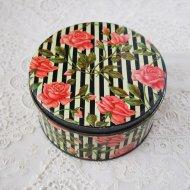 【カナダ発送】ピンクローズ 薔薇模様のティン缶 / アンティーク・ヴィンテージ雑貨