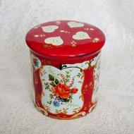 ピンク&オレンジローズ お花模様のティン缶 / アンティーク・ヴィンテージ雑貨