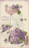 アンティーク ポストカード スミレ イースター Happy Easter