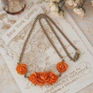 Unsigned Beauty ゴールドトーン オレンジコーラルカラー ローズ 薔薇 ネックレス / ヴィンテージジュエリー アクセサリー