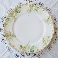 ホワイトフラワー グリーン デザートプレート / アンティーク・ヴィンテージ雑貨