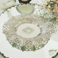 シルバーメタル お花模様の縁取りが可愛いジュエリートレイ / アンティーク・ヴィンテージ雑貨
