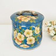 お花模様 ピンクフラワー ブルーカラーのティン缶  / アンティーク・ヴィンテージ雑貨