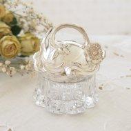 シルバープレートのお花模様の蓋 ラウンド ガラスのコスメジャー / アンティーク・ヴィンテージ雑貨
