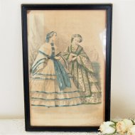 LES MODES PARISIENNES ブルーとグリーンのドレスの淑女 レクタングル フォトフレーム  / アンティーク・ヴィンテージ雑貨